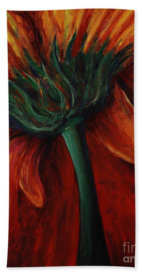 Gerbera Daisy.daisy Bath Towel featuring the painting Gerbera Daisy by Nadine Rippelmeyer