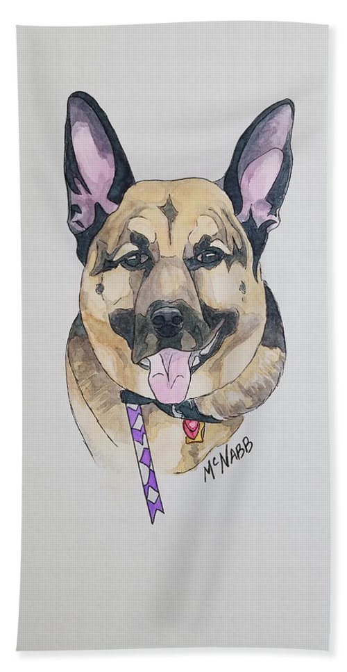 Dog.puppy Bath Sheet featuring the painting German Shephard by Johnny McNabb