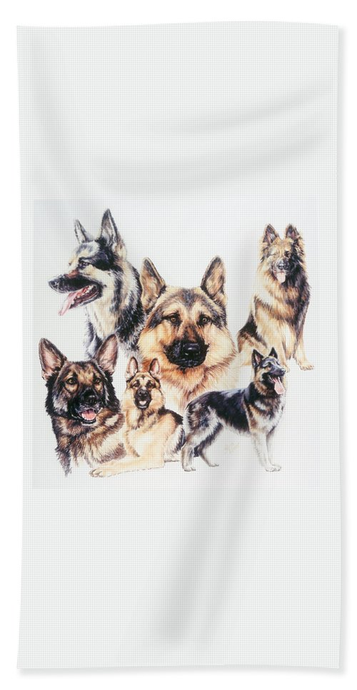 Herding Group Bath Sheet featuring the drawing German Shepherds by Barbara Keith