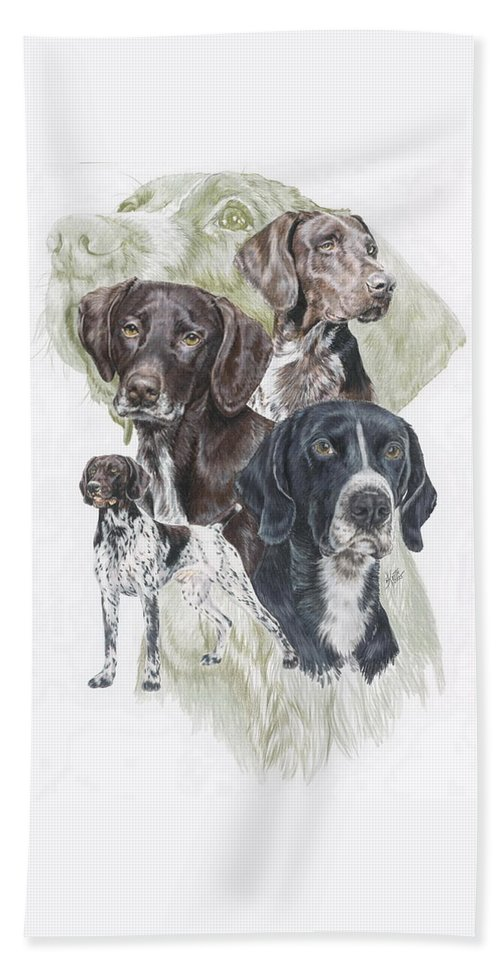 Gshp Bath Towel featuring the mixed media German Shorted-haired Pointer W/ghost by Barbara Keith