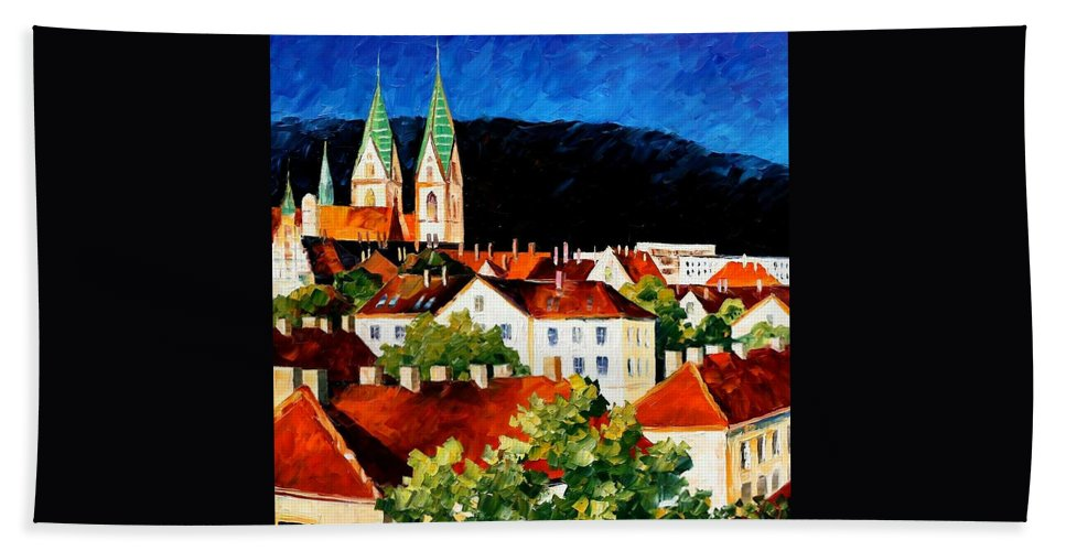 City Hand Towel featuring the painting Germany - Freiburg by Leonid Afremov