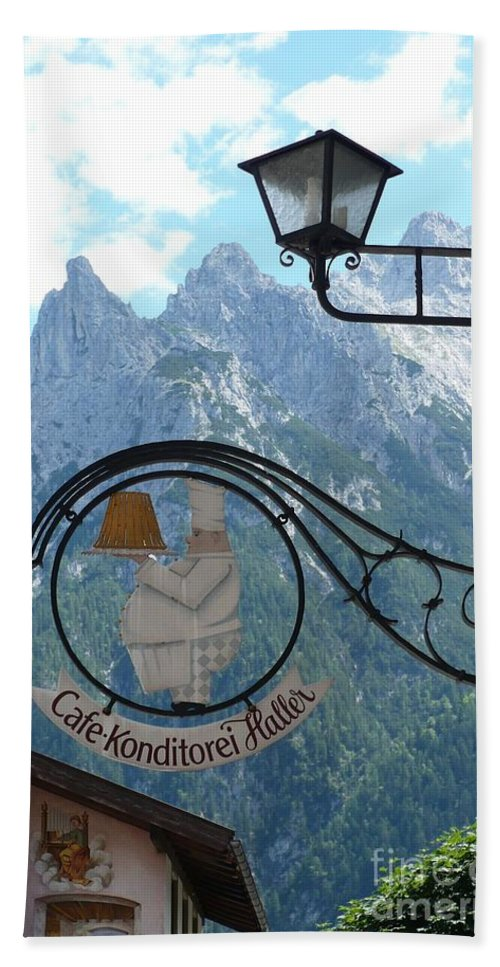 Bavarian Alps Bath Towel featuring the photograph Germany - Cafe Sign by Carol Groenen