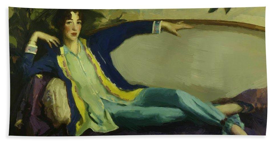 Gertrude Bath Sheet featuring the painting Gertrude Vanderbilt Whitney 1916 by Henri Robert