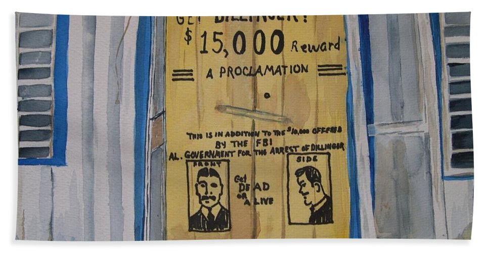 Building Hand Towel featuring the painting Get Dillinger by Patricia Caldwell