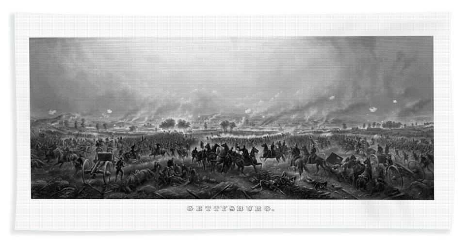 Gettysburg Bath Towel featuring the painting Gettysburg by War Is Hell Store
