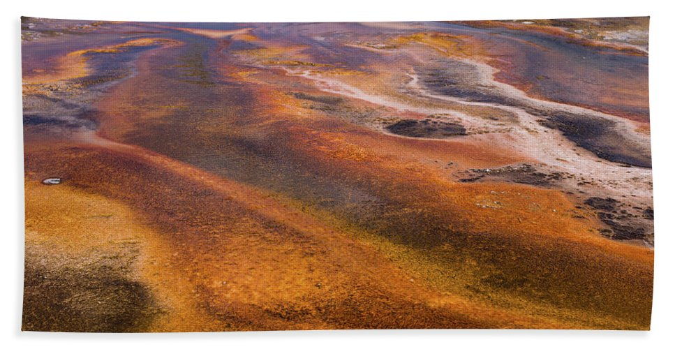 Wyoming Hand Towel featuring the photograph Geyser Basin Springs 7 by Tracy Knauer