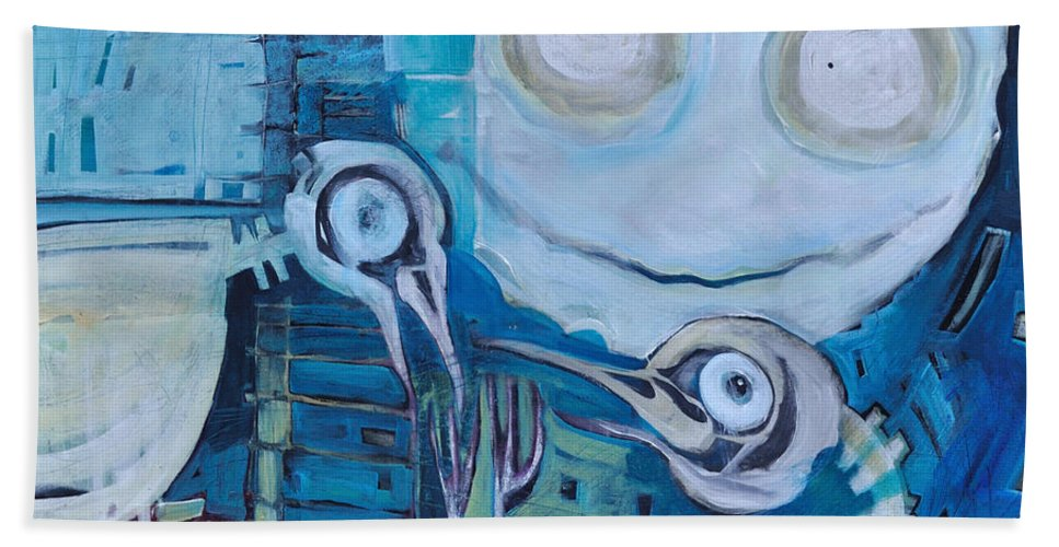 Bird Bath Towel featuring the painting Ghost Birds At Play by Tim Nyberg