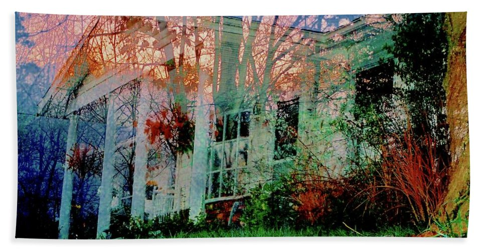 Mansion Bath Sheet featuring the photograph Ghost House Bold by Kasha Baxter