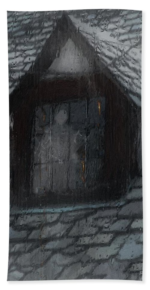 Ghost Hand Towel featuring the painting Ghost Rain by RC deWinter