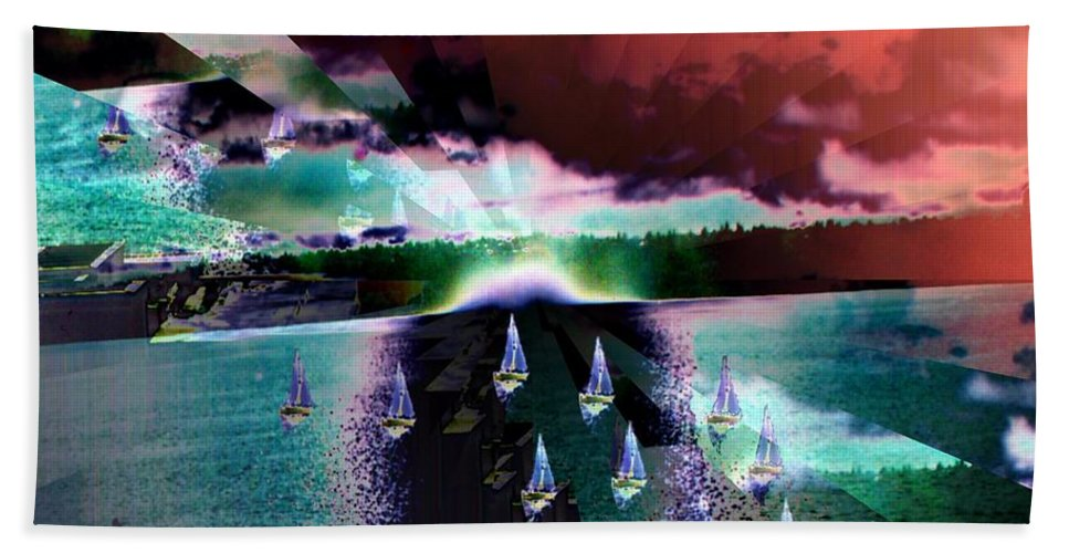 Seattle Hand Towel featuring the digital art Ghost Regatta by Tim Allen