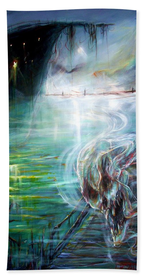 Skeleton Bath Sheet featuring the painting Ghost Ship 2 by Heather Calderon