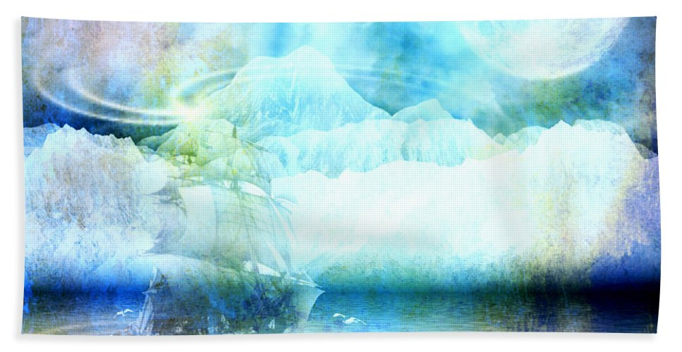 Ghost-ship Bath Sheet featuring the digital art Ghost Ship by Gallery Beguiled