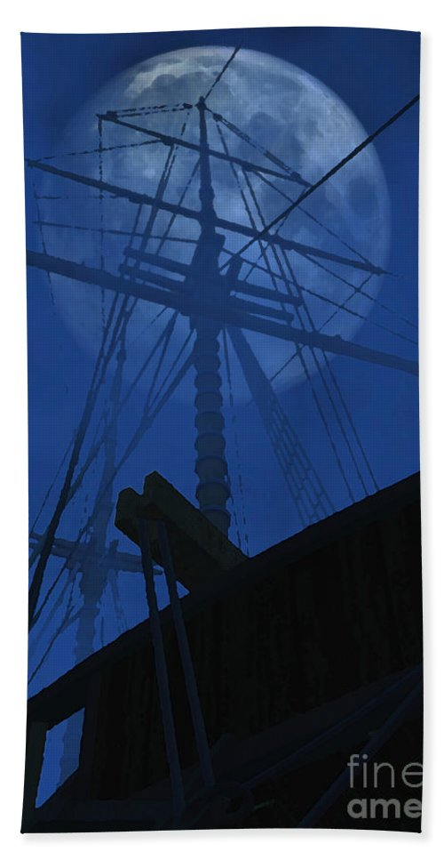 Ghost Ship Hand Towel featuring the digital art Ghost Ship by Richard Rizzo