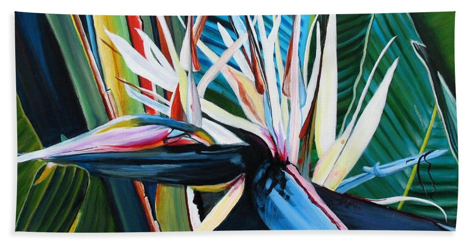 Bird Hand Towel featuring the painting Giant Bird Of Paradise by Marionette Taboniar