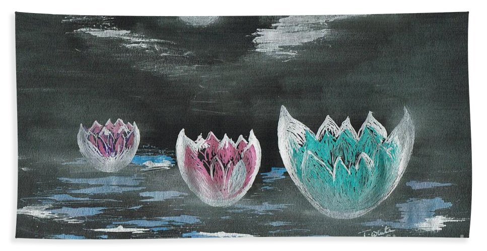 Teresa White Hand Towel featuring the drawing Giant Lilies Upon Misty Waters by Teresa White