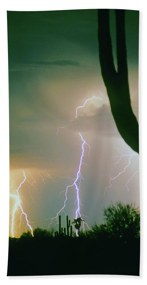 Lightning Hand Towel featuring the photograph Giant Saguaro Cactus Lightning Storm by James BO Insogna