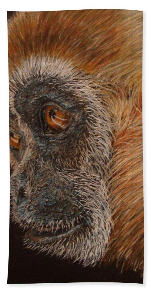 Animals Hand Towel featuring the drawing Gibbon by Karen Ilari