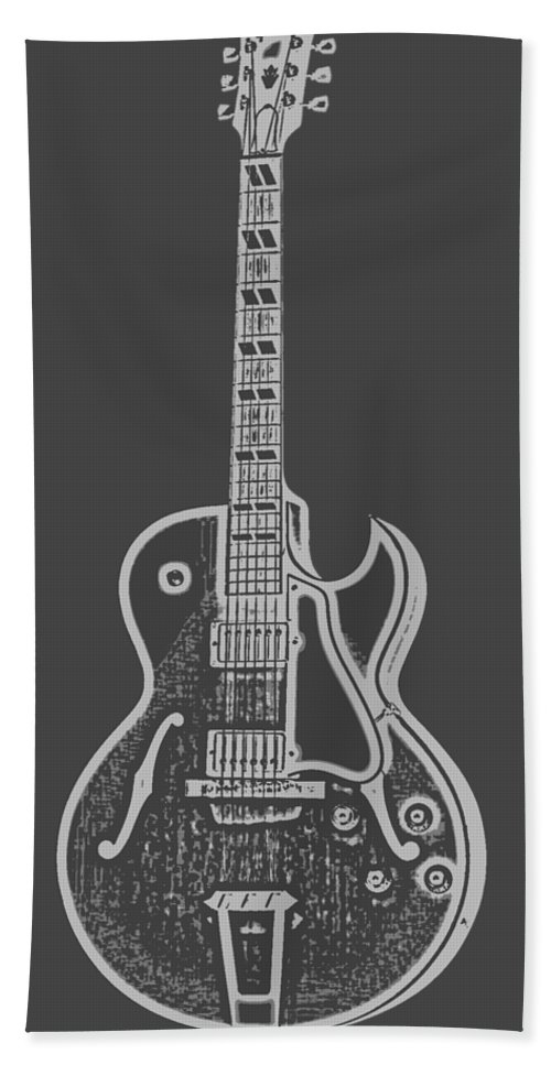 Instrument Bath Towel featuring the digital art Gibson Es-175 Electric Guitar Tee by Edward Fielding