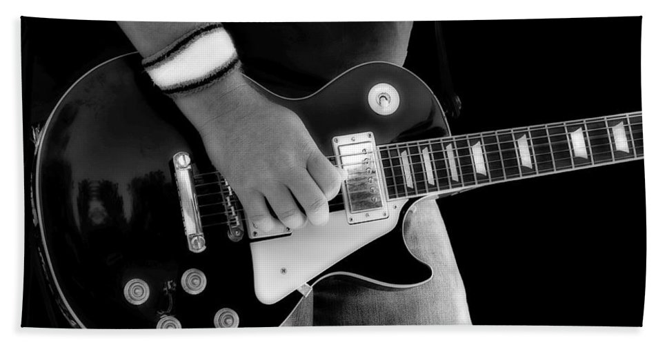 Gibson Hand Towel featuring the photograph Gibson Les Paul Guitar by Randy Steele