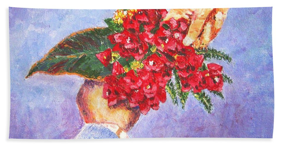 Gift Bath Towel featuring the painting Gift A Bouquet - Bougenvillea by Usha Shantharam