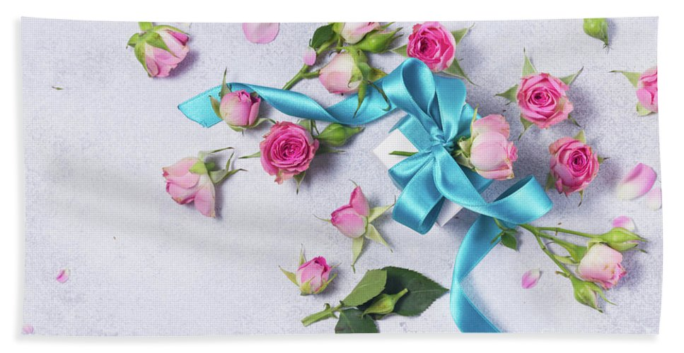 Flowers Hand Towel featuring the photograph Gift And Flowers by Anastasy Yarmolovich