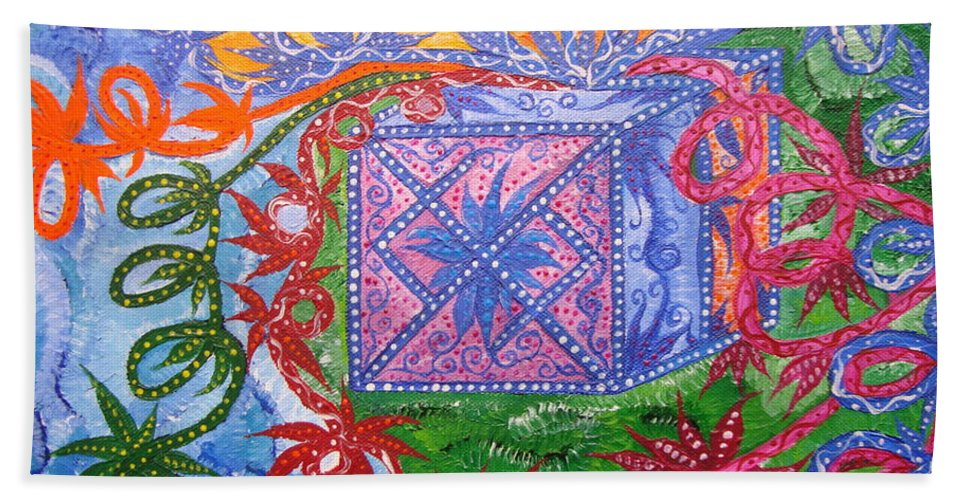 Symbol Bath Sheet featuring the painting Gift by Joanna Pilatowicz
