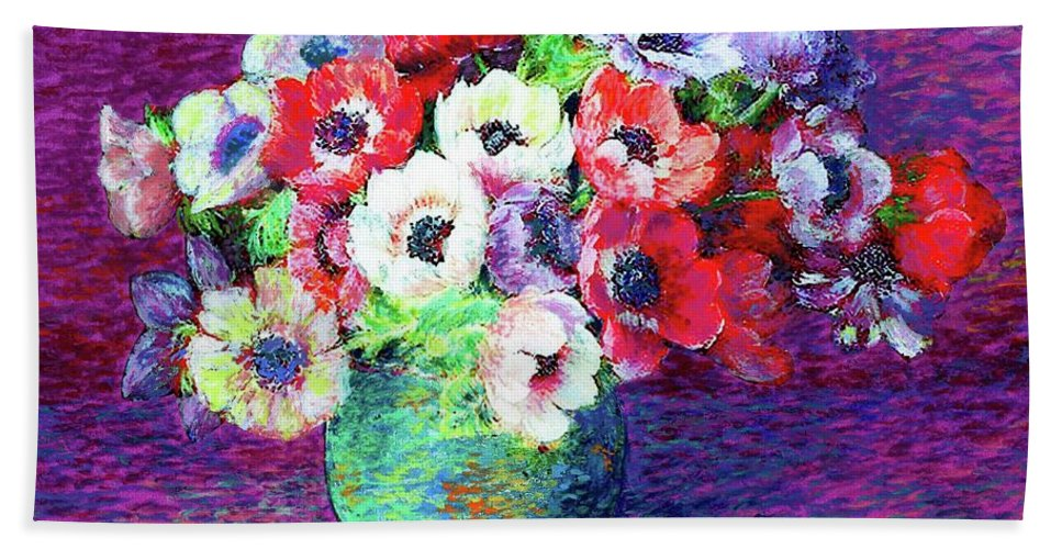 Flower Hand Towel featuring the painting Gift Of Anemones by Jane Small