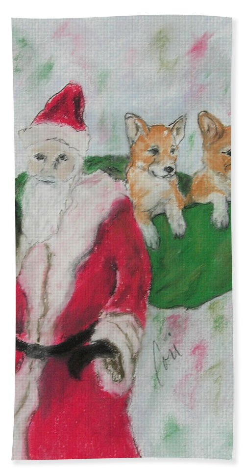 Santa Claus Hand Towel featuring the drawing Gifts Of Joy by Cori Solomon