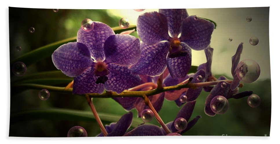 Orchid Bubbles Floral Bath Sheet featuring the photograph Giggles by Joanne Smoley