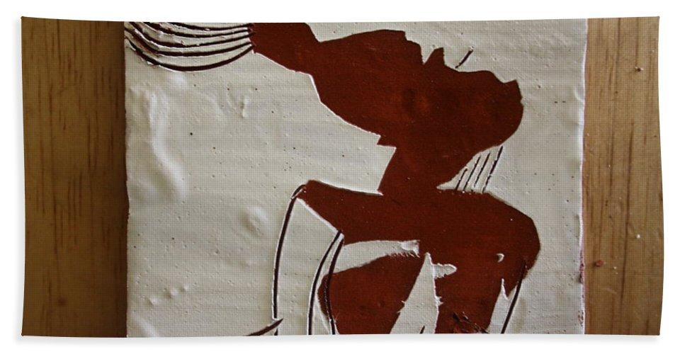Jesus Hand Towel featuring the ceramic art Gigi - Tile by Gloria Ssali