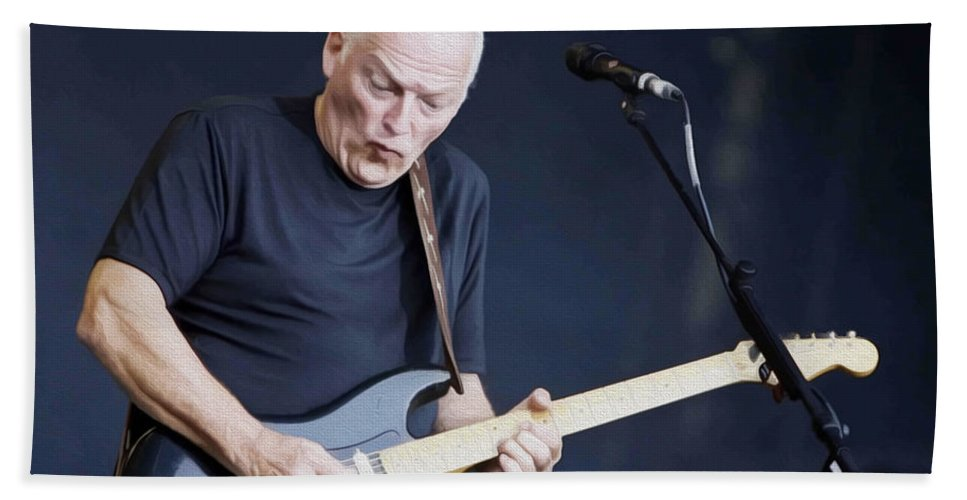 David Gilmour Hand Towel featuring the painting Gilmour #003 By Nixo by Never Say Never