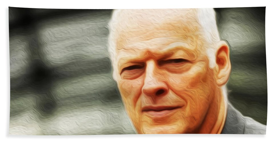 David Gilmour Hand Towel featuring the painting Gilmour #103 By Nixo by Never Say Never
