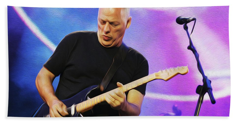 David Gilmour Hand Towel featuring the painting Gilmour Maroon Nixo by Never Say Never