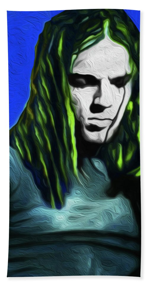 David Gilmour Hand Towel featuring the painting Gilmour Neon Nixo by Never Say Never
