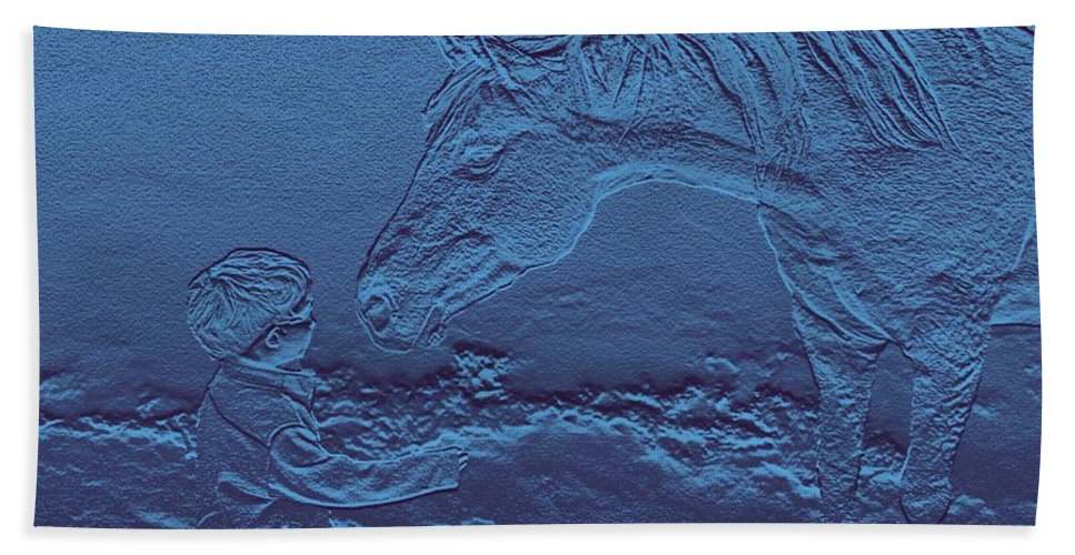 Horse Child Innocent Blue Horses Ranch Farm Bath Sheet featuring the photograph Gimme A Kiss by Andrea Lawrence