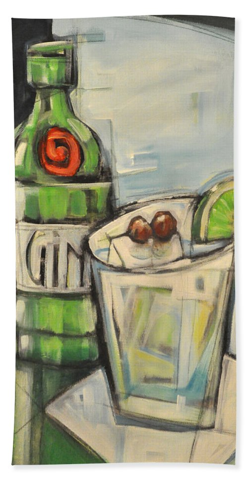 Gin Hand Towel featuring the painting Gin Gimlet by Tim Nyberg