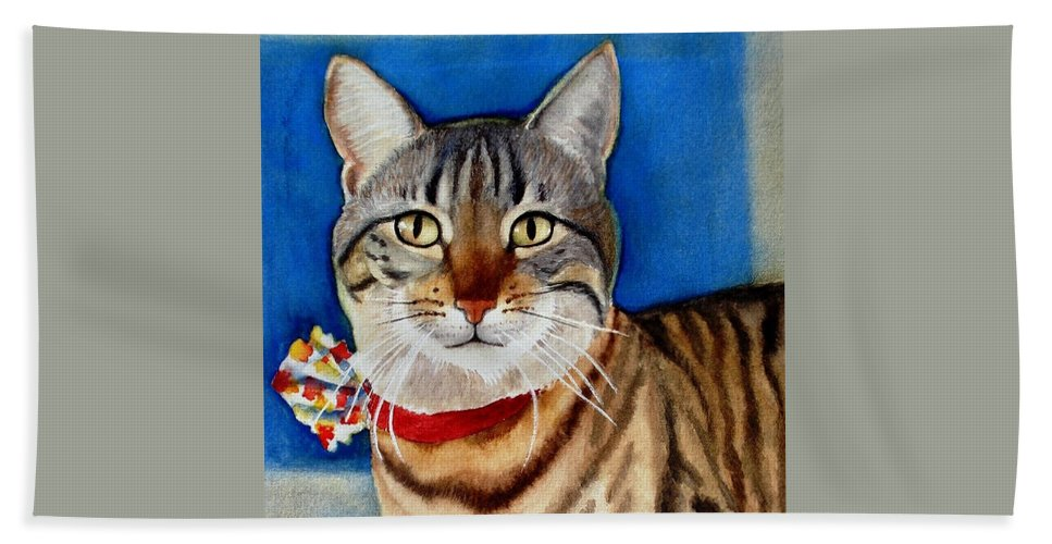 Cat Hand Towel featuring the painting Ginger by Marilyn Jacobson