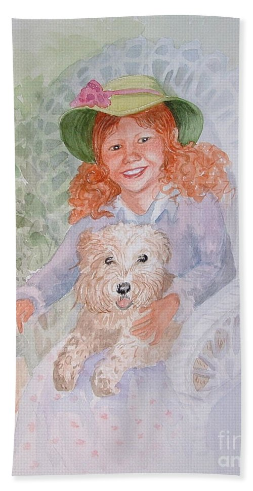 Portrait Hand Towel featuring the painting Ginger by Marilyn Smith