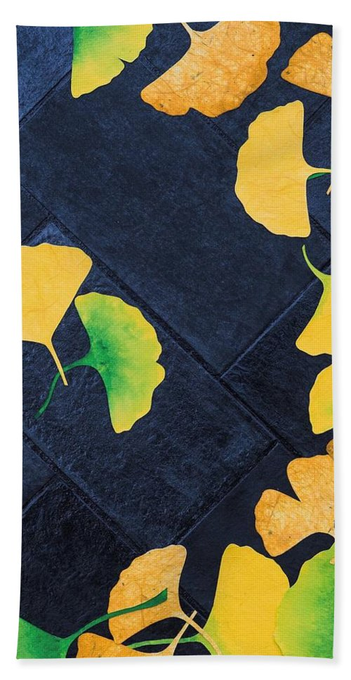 Ginkgo Bath Sheet featuring the mixed media Ginkgo Leaves On Pavement by Ashley Nation