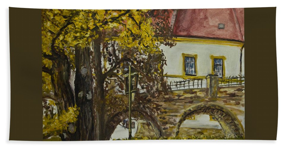 Landscape Hand Towel featuring the painting Ginko by Pablo de Choros
