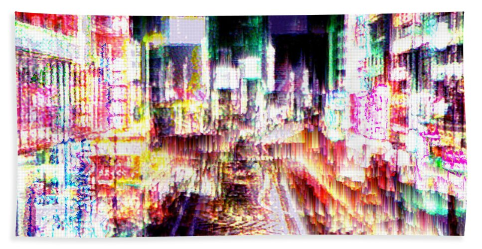 Tokyo Bath Sheet featuring the digital art Ginsa Glitz by Seth Weaver