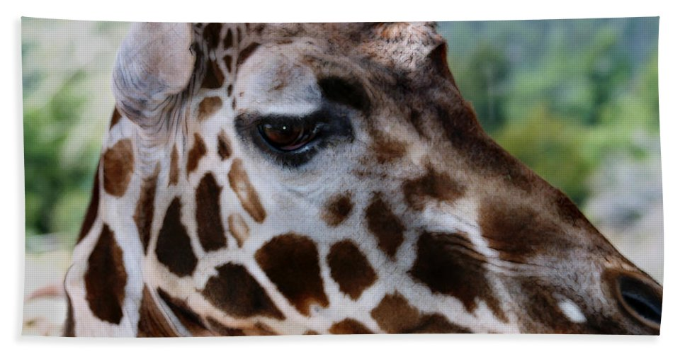Wildlife Hand Towel featuring the digital art Giraffe by Anthony Jones