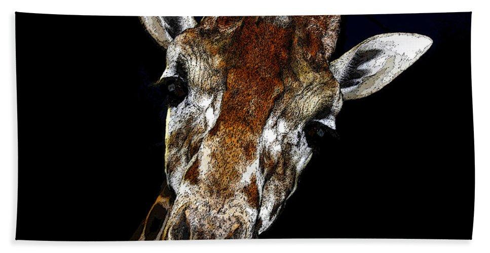 Art Bath Sheet featuring the painting Giraffe Curiosity by David Lee Thompson