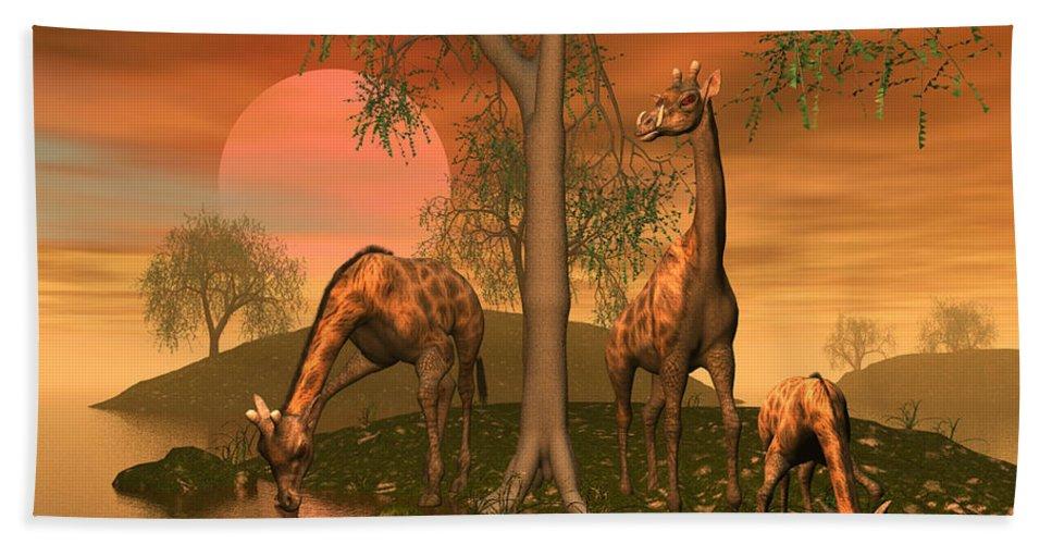 Animals Hand Towel featuring the digital art Giraffe Family By John Junek by John Junek