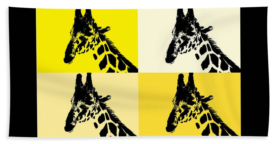 Giraffe Four Square Digital Art Photography on Bath Towel
