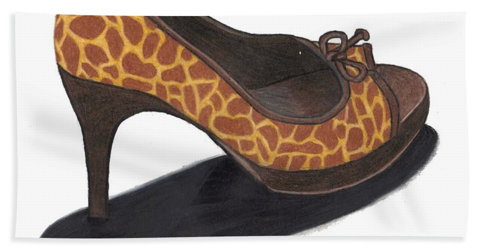 Shoe Hand Towel featuring the drawing Giraffe Heels by Jean Haynes