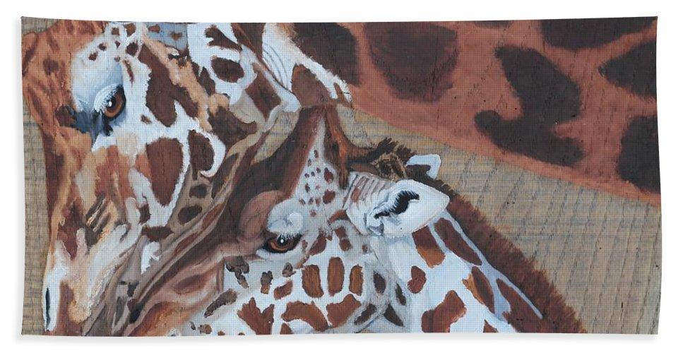 Giraffe Bath Sheet featuring the painting Giraffe Love by Debbie LaFrance