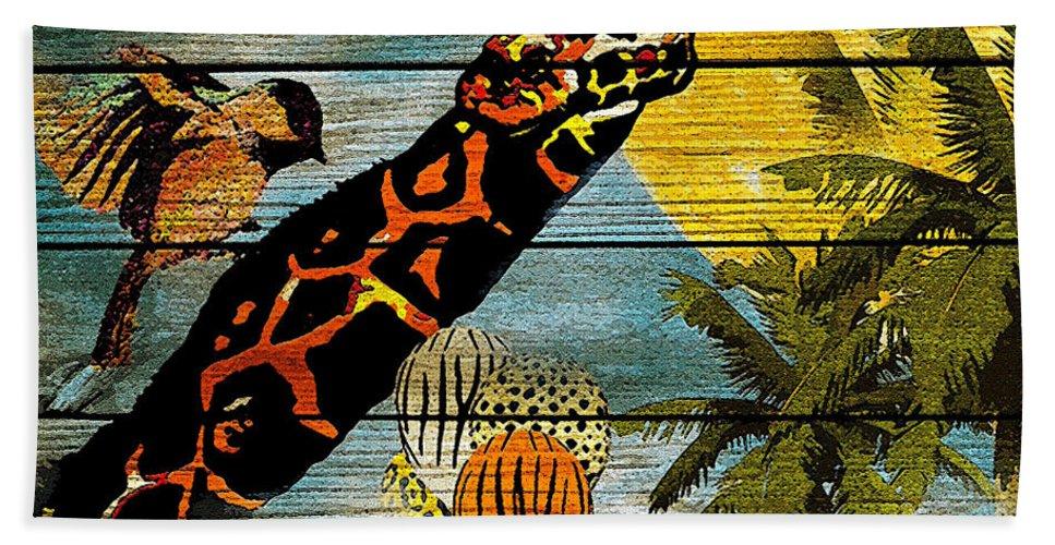 Giraffe Hand Towel featuring the painting Giraffe Rustic by Saundra Myles