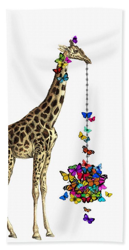 Giraffe Hand Towel featuring the digital art Giraffe With Colorful Rainbow Butterflies by Madame Memento