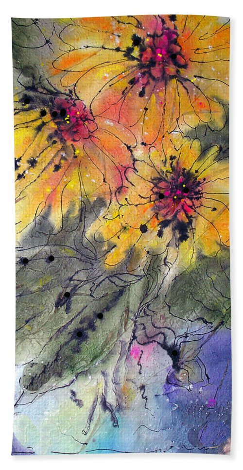 Floral Hand Towel featuring the painting Girasoli by Barbara Colangelo